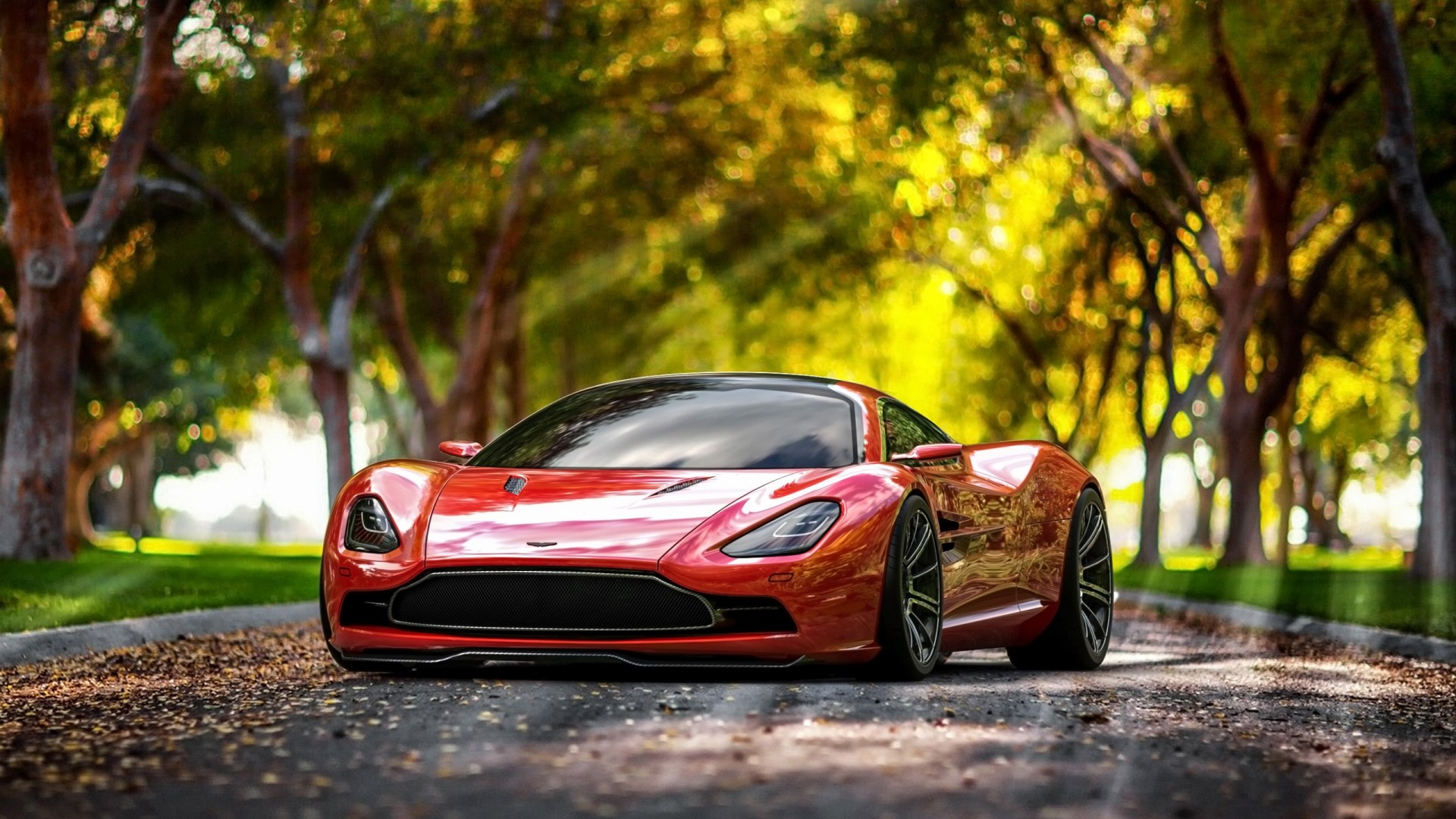 Aston Martin DBC, 4k, HD wallpaper, supercar, Aston Martin, sports car, luxury cars, concept, red, leaves, autumn (horizontal)