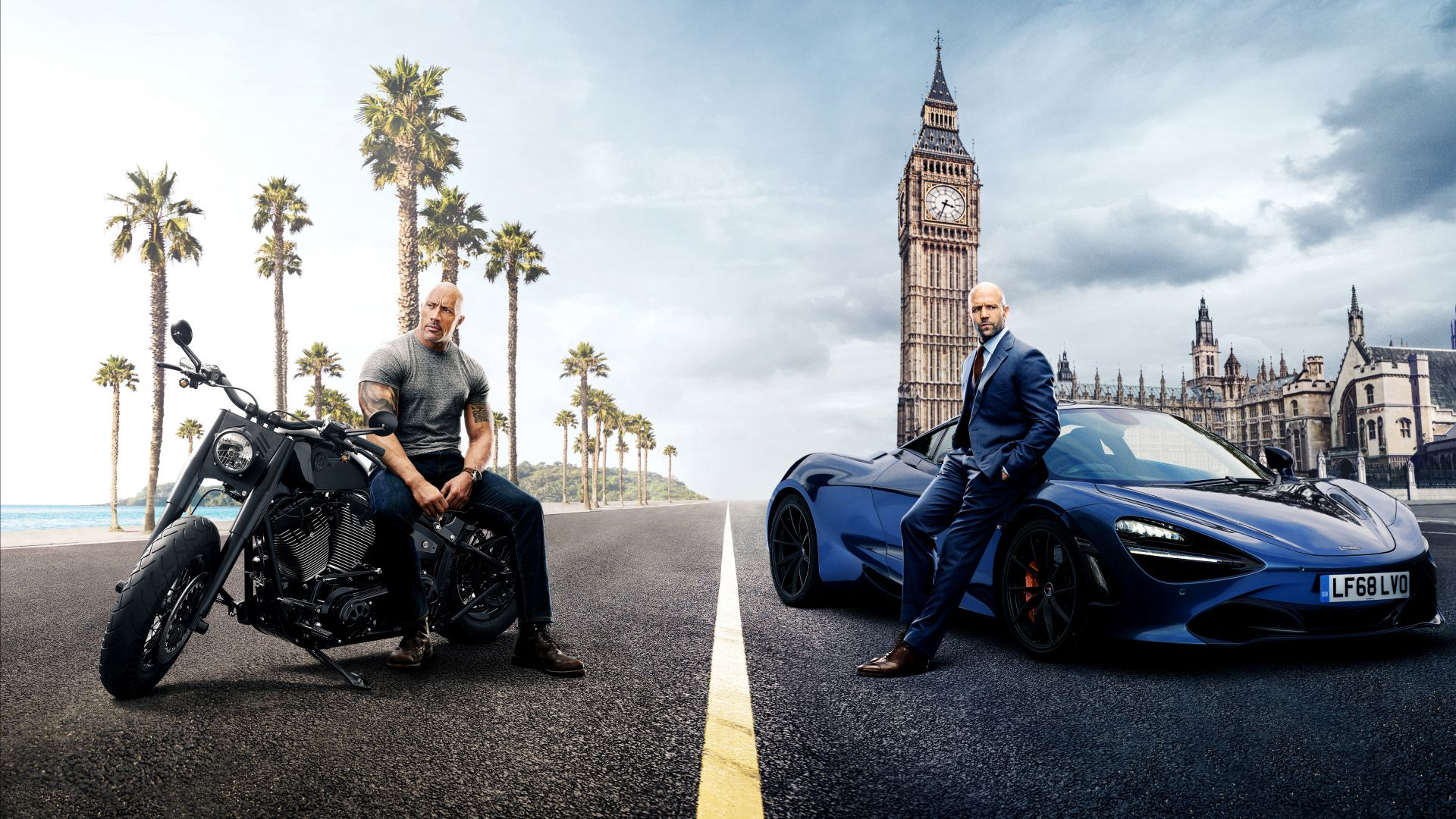 Hobbs And Shaw, Dwayne Johnson, Jason Statham, poster, 4K (horizontal)