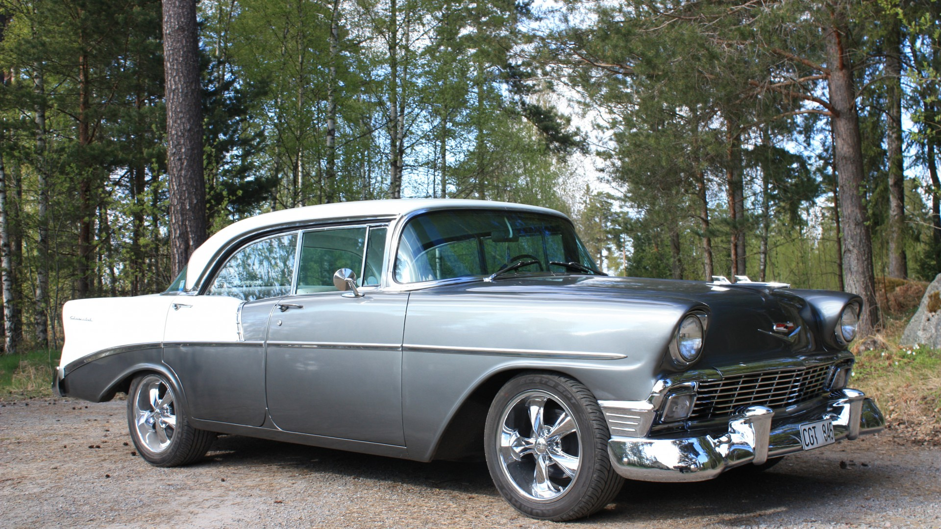 Chevrolet 210, Two-Ten, classic cars, Chevrolet, Chevy, 1956, sedan, blue, forest (horizontal)