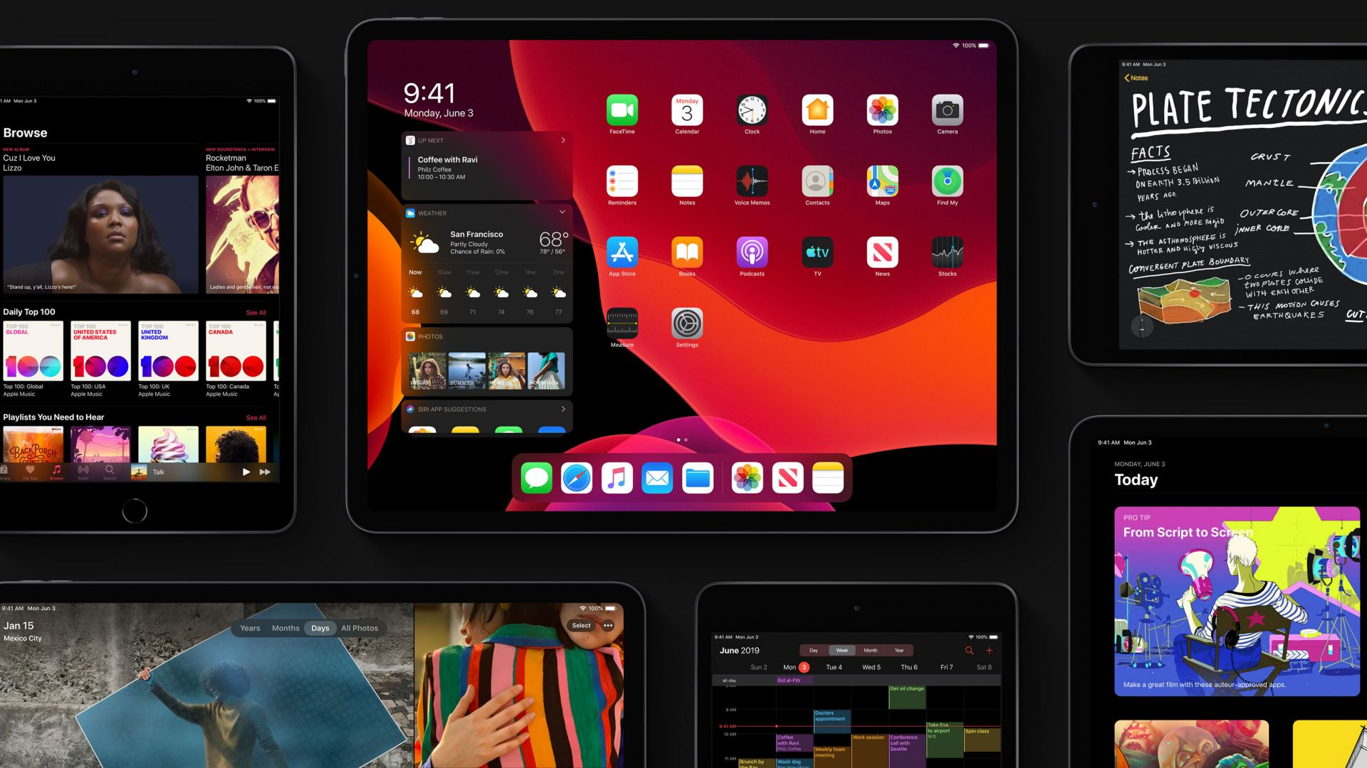 iPadOS, dark, interface, GUI, WWDC 2019, 4K (horizontal)