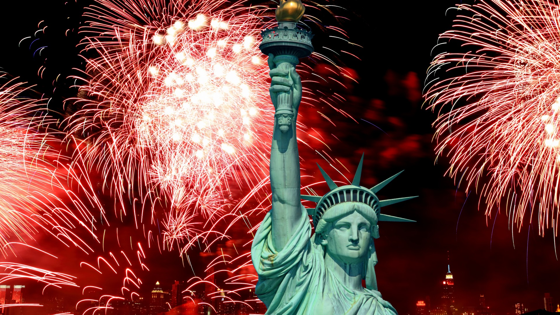 Independence Day, USA, NY, Statue of Liberty, event, fireworks (horizontal)