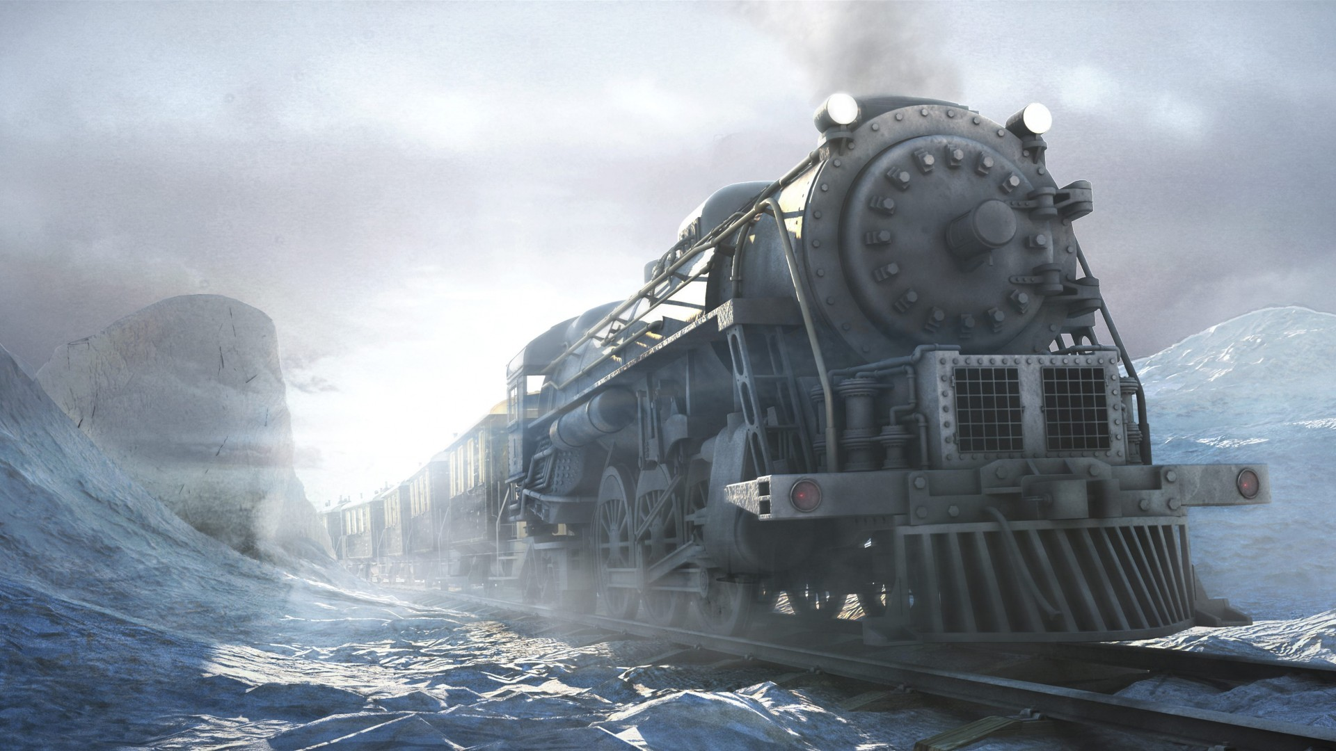 Syberia, game, quest, snow, winter, light, locomotive, train, PC, XBox one, PS4, Android, screenshot, 4k, 5k, 2015 (horizontal)