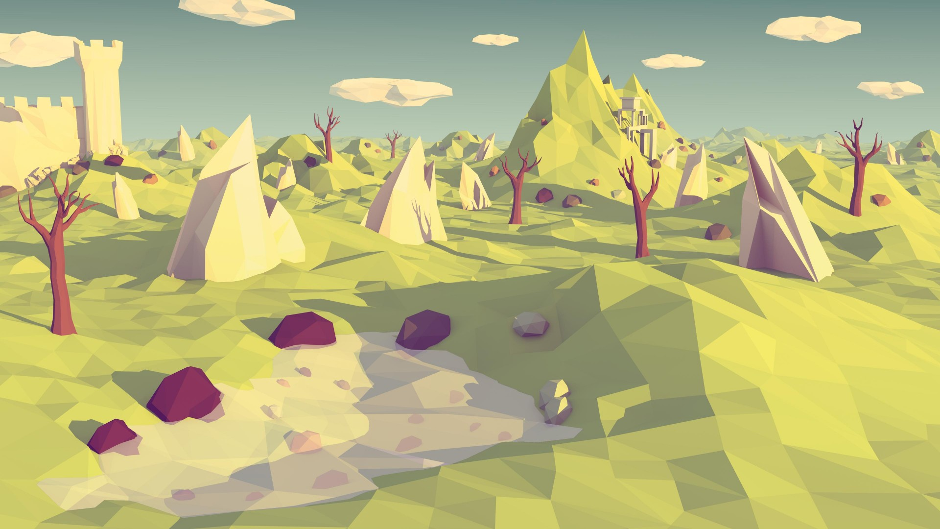 polygon, 4k, 5k wallpaper, landscape, nature, low poly (horizontal)