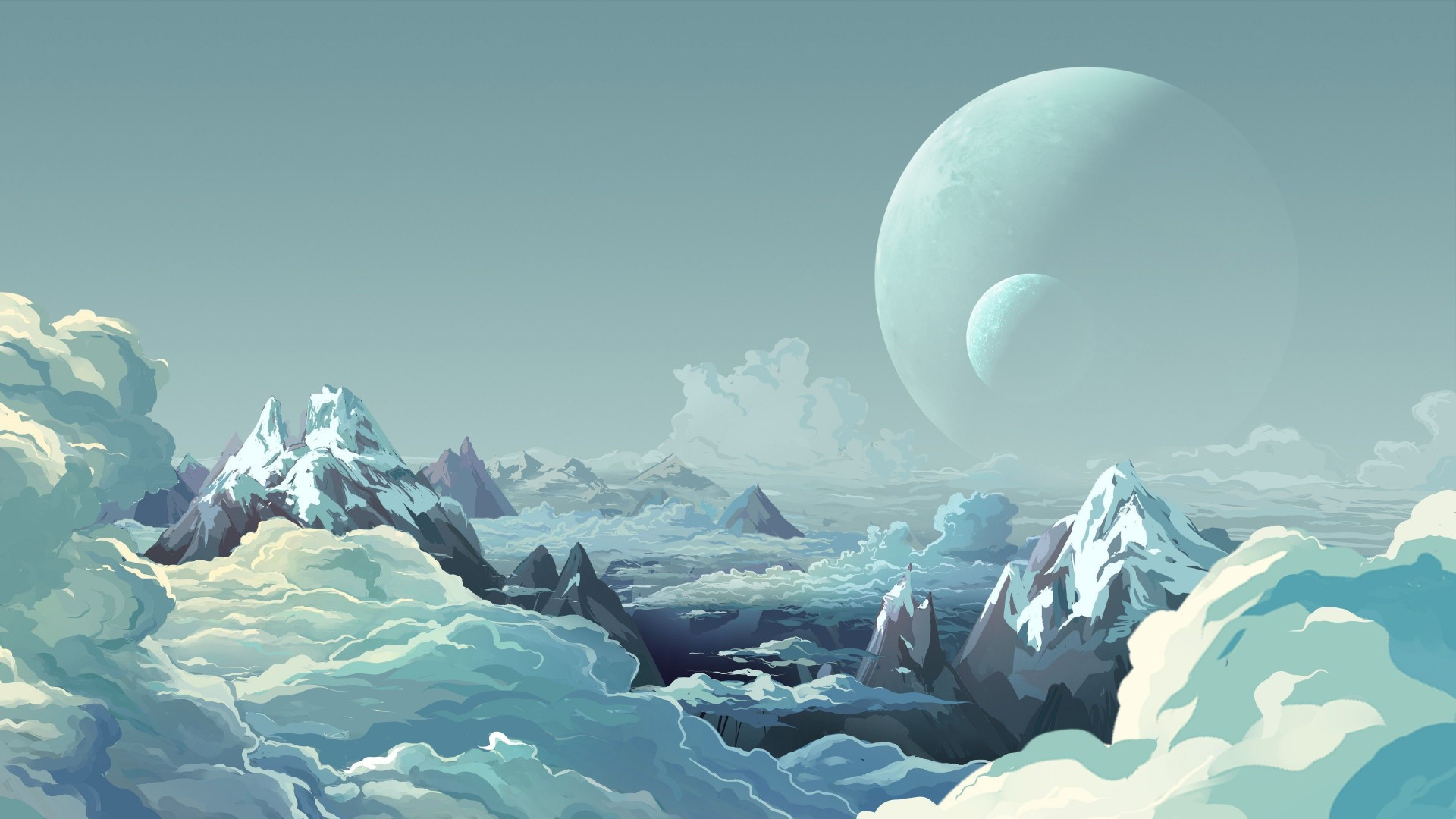 mountains, clouds, planets, snow (horizontal)