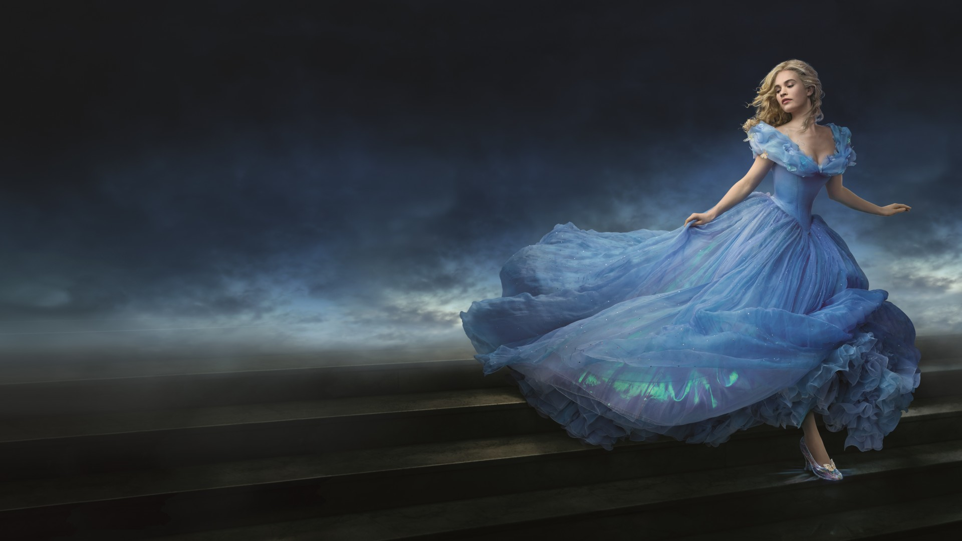Cinderella, 2015, movie, film, romantic, blue dress, blonde, fog, Lily James, Ella, Richard Madden, Prince Charming, Helena Bonham Carter, The Fairy Godmother (horizontal)