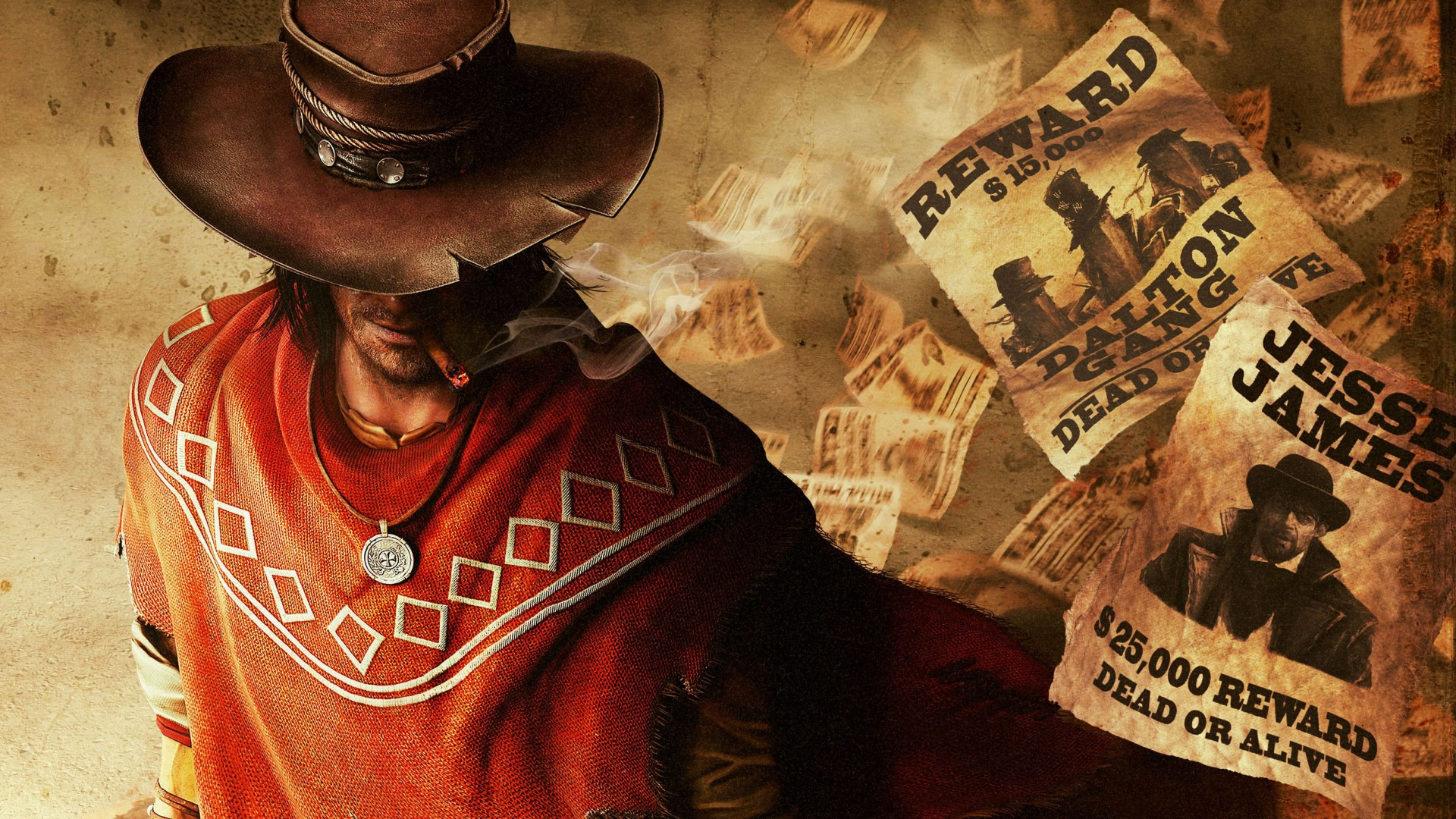 Red Dead Redemption, game, Adventure games, Action games, RPG, Red Dead, cowboy, gun, poncho, screenshot, Rockstar (horizontal)