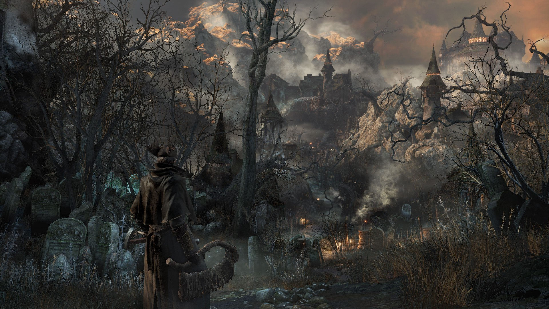 Bloodborne, gameplay, review, screenshot, interface, game, Yharnam, Best Games of 2015, city, darkness, fog (horizontal)