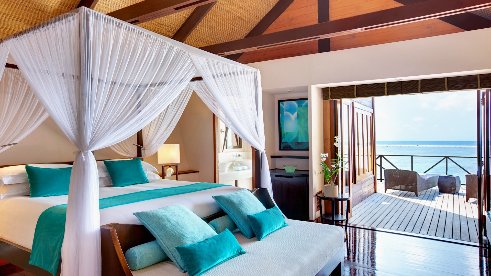 Maldives Water Villa, Best Hotels of 2015, tourism, travel, resort, vacation, Lux, bed, blue (horizontal)