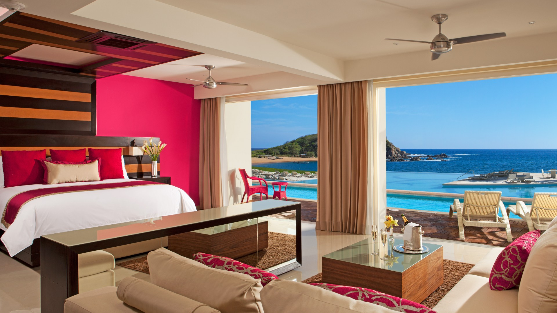 Secrets Huatulco Resort And Spa, Best Hotels of 2015, tourism, travel, resort, vacation, bed, sea, ocean, pink (horizontal)