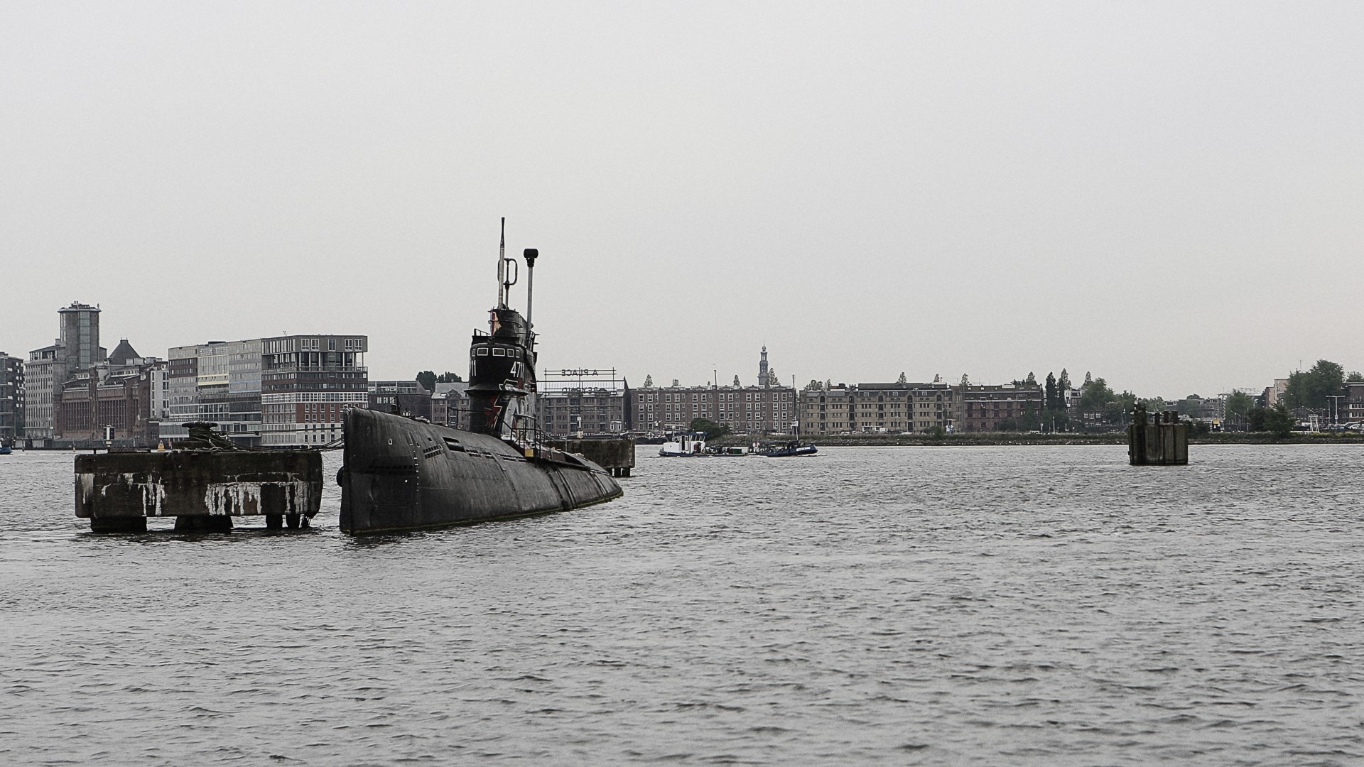 submarine, military, Amsterdam, Royal Netherlands Navy, sea, port (horizontal)