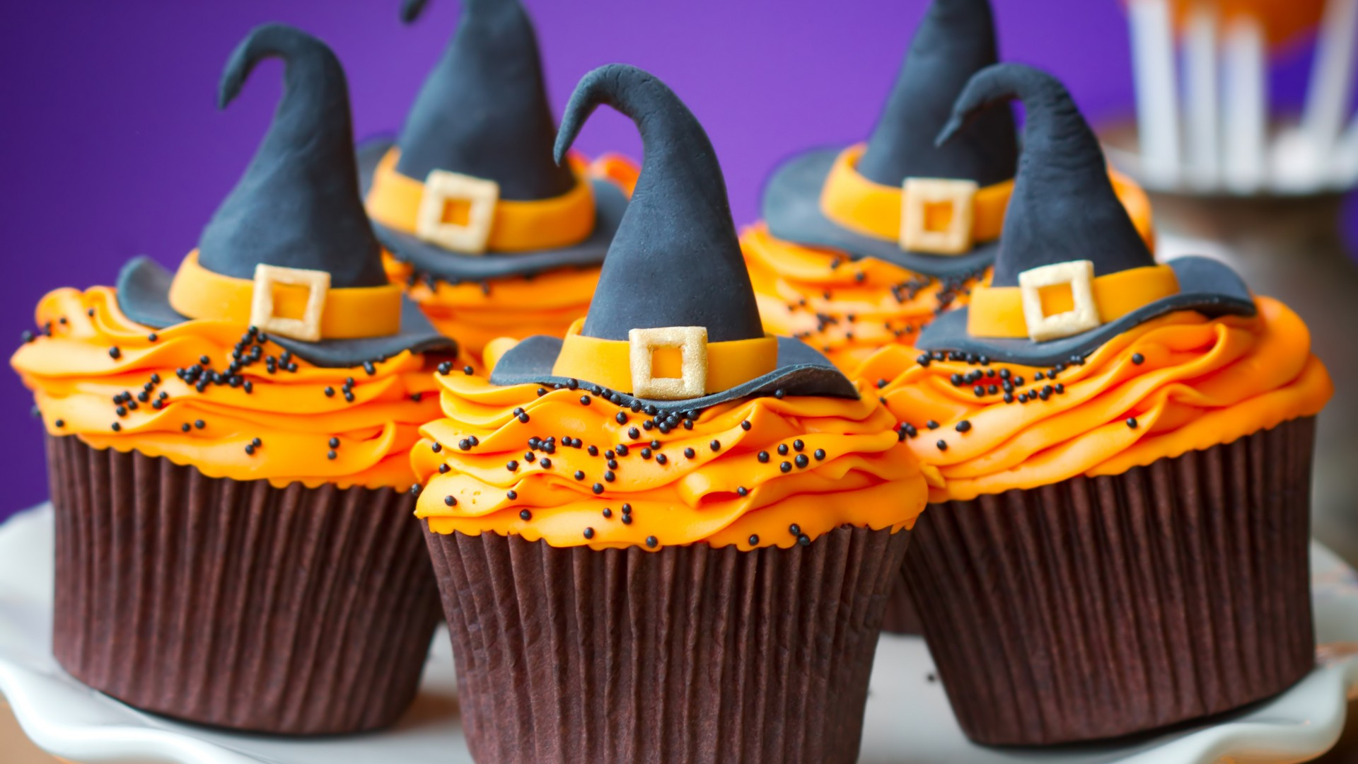 Cupcakes, Helloween, Witch Hats, desserts, pastries, cream, powdered, sugar, orange (horizontal)