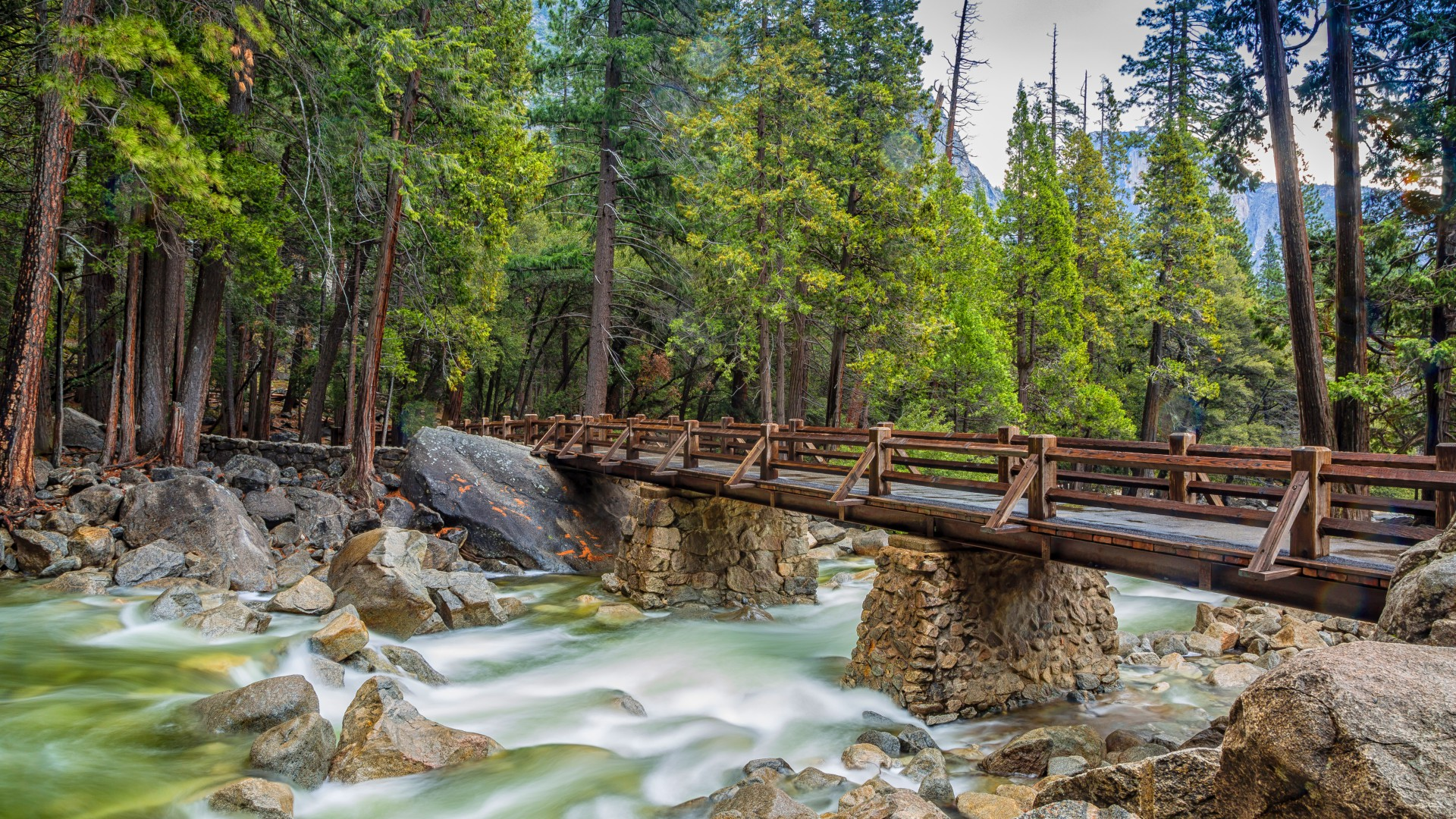 Yosemite, 5k, 4k wallpaper, 8k, forest, OSX, apple, mountains, bridge (horizontal)