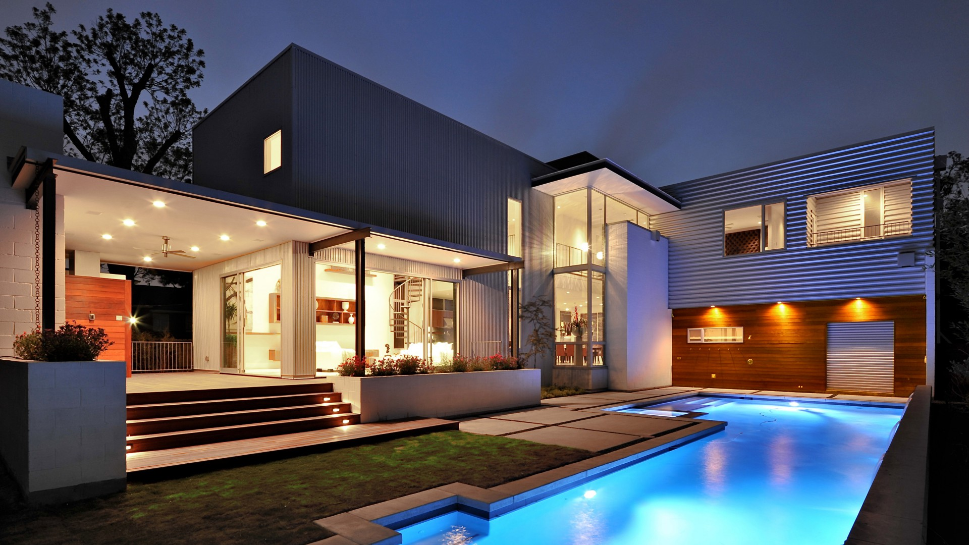 House, Mansion, pool, modern, interior, High-tech, yard (horizontal)