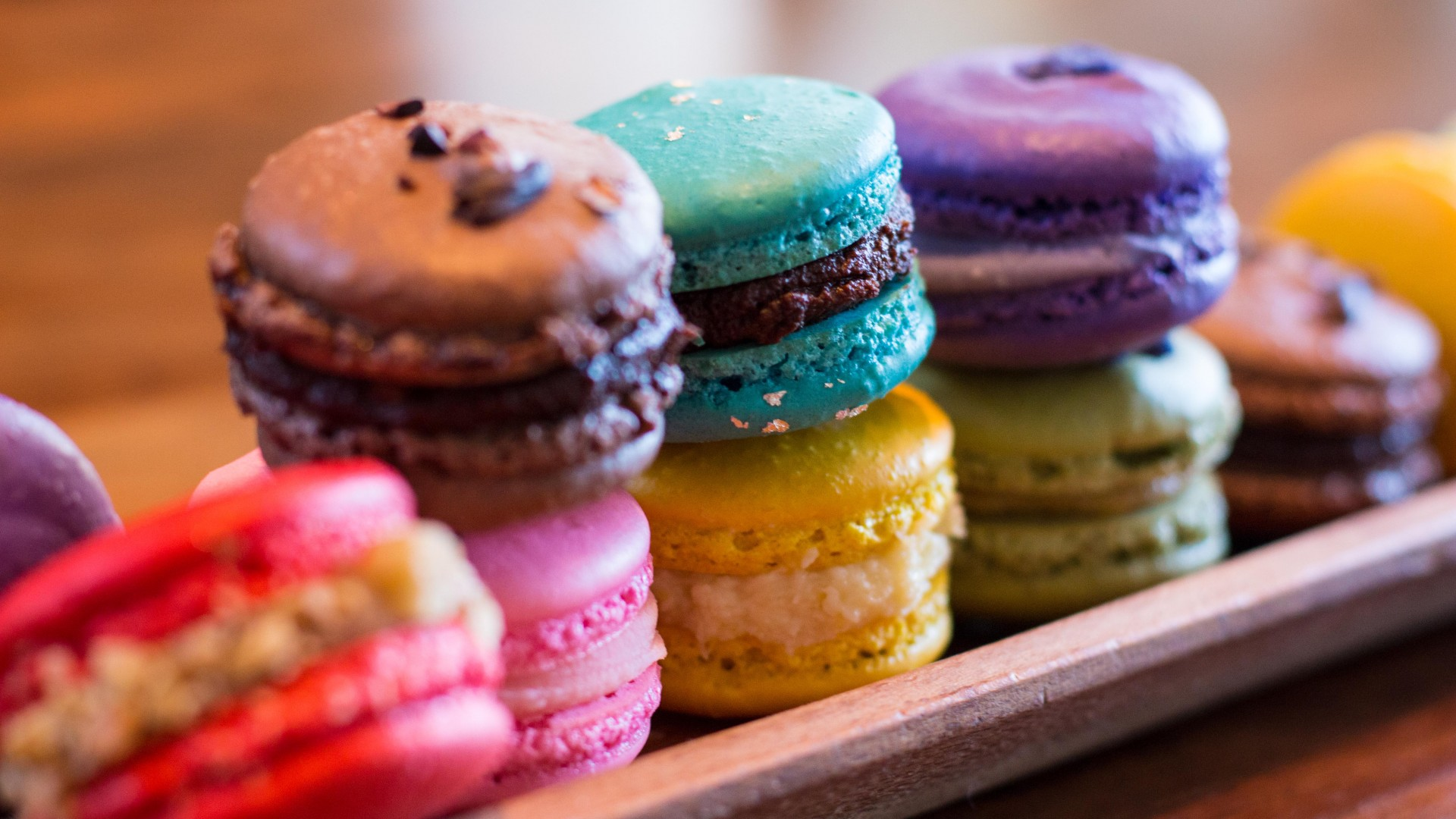 macaroon, French pastries, cookies, colorful (horizontal)