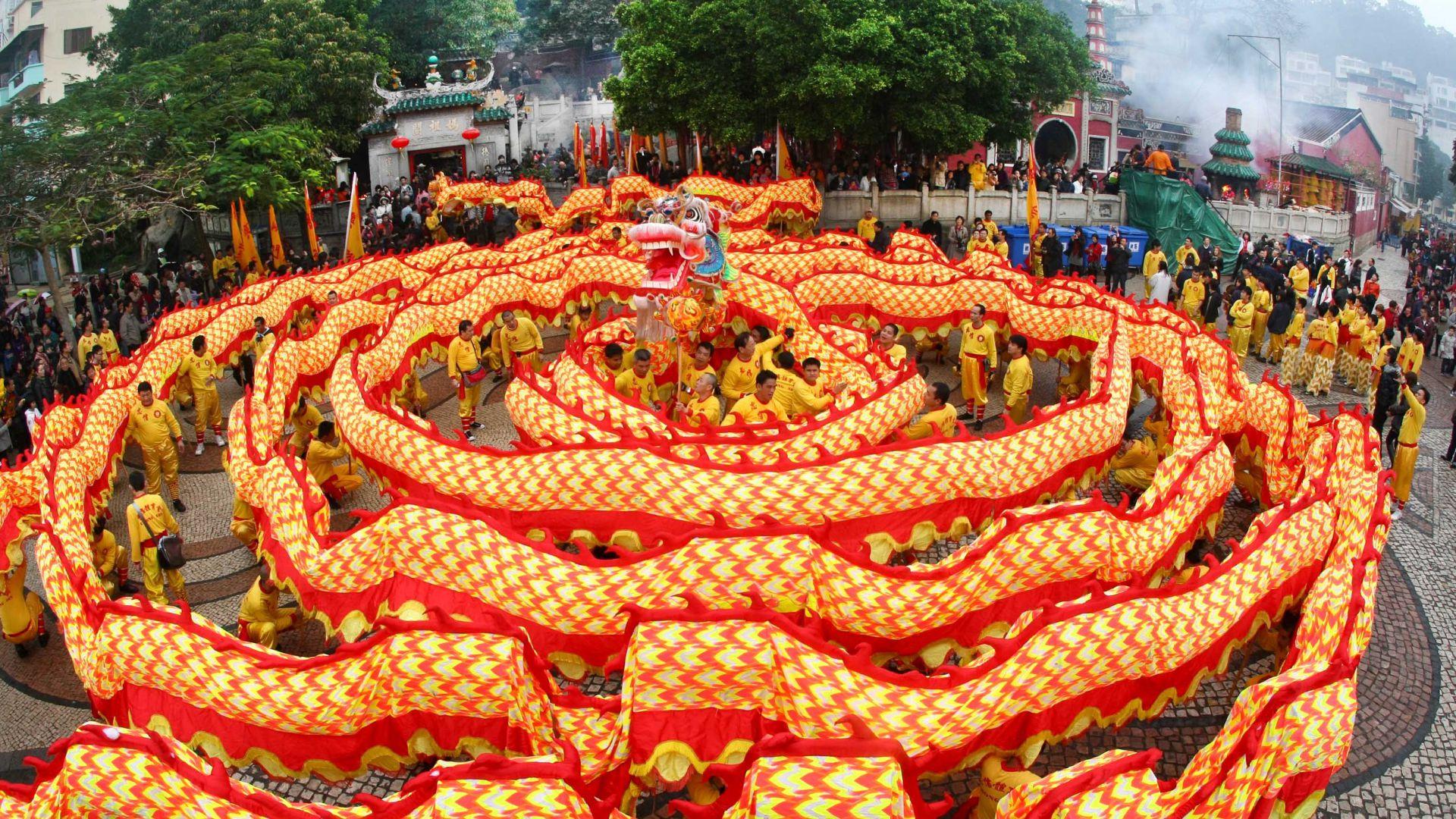 Chinese New Year Spring Festival Dragon Orange Horizontal