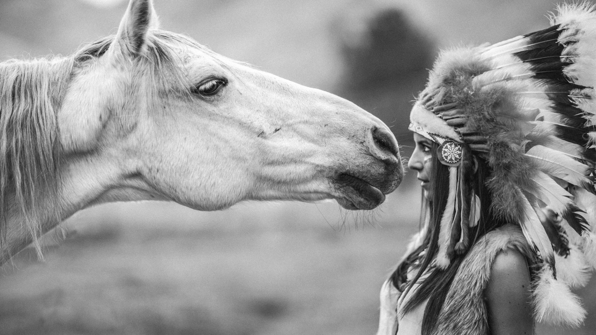 Horse, girl, Indian, cute animals (horizontal)