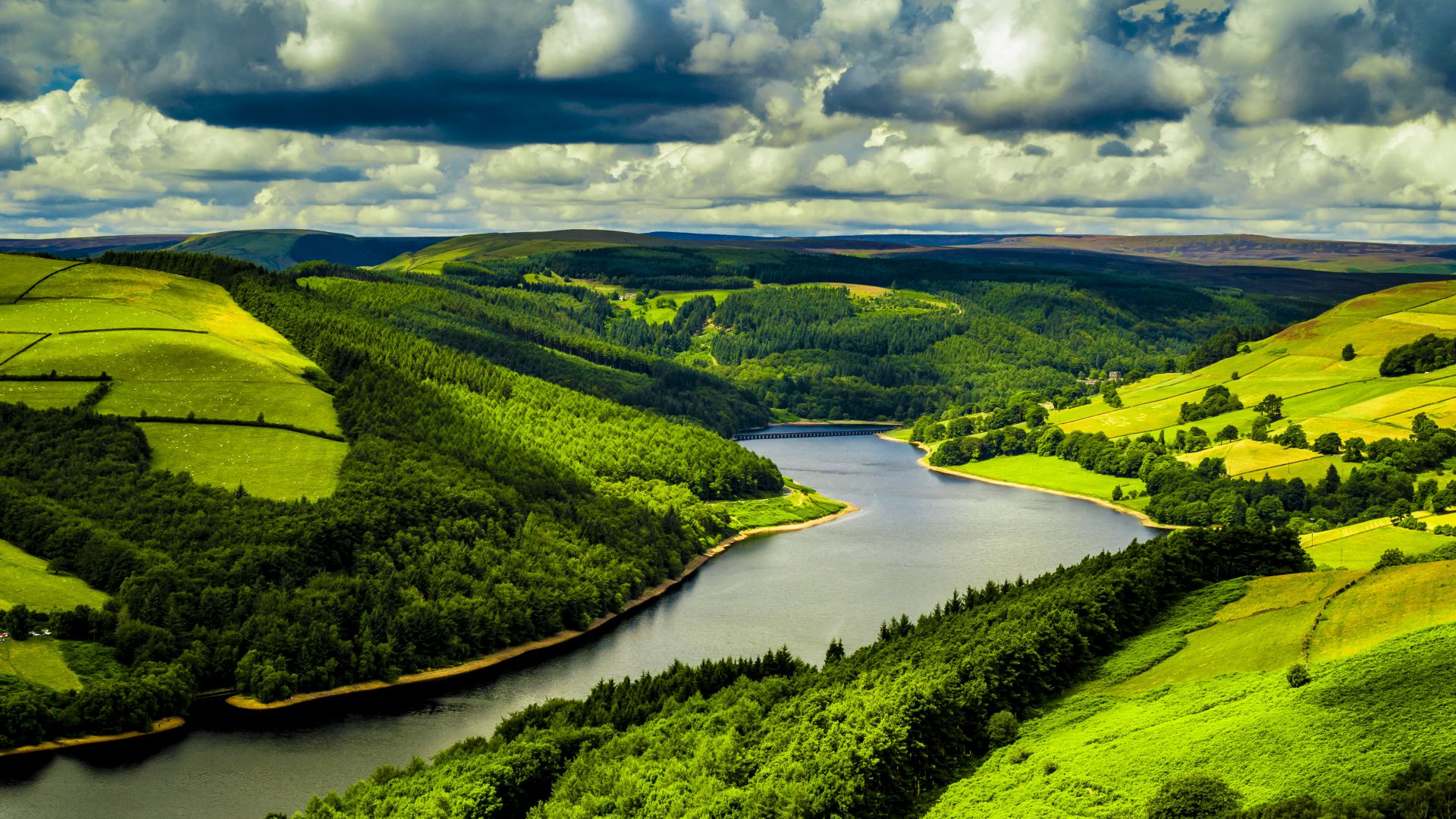 UK, 4k, HD wallpaper, hills, river, trees, sky (horizontal)