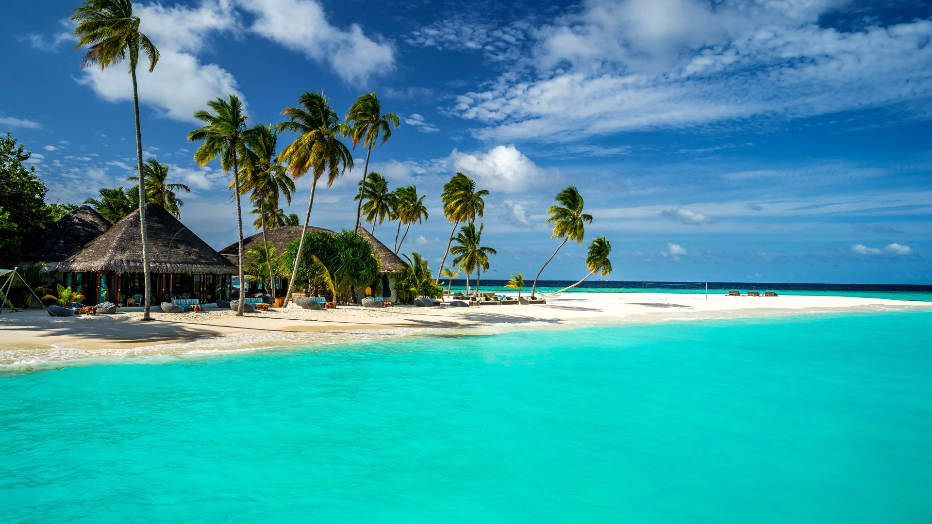 Maldives, 5k, 4k wallpaper, 8k, Indian Ocean, Best Beaches in the World palms, shore, sky (horizontal)