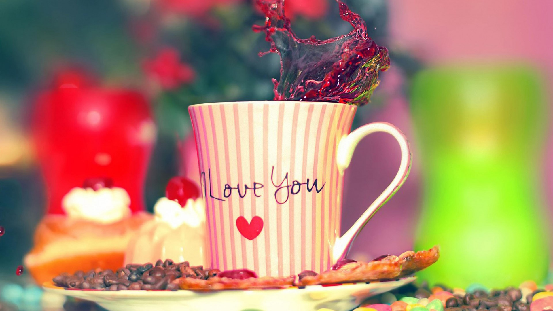 Valentine's Day, love, cup, heart, sweets, coffee (horizontal)