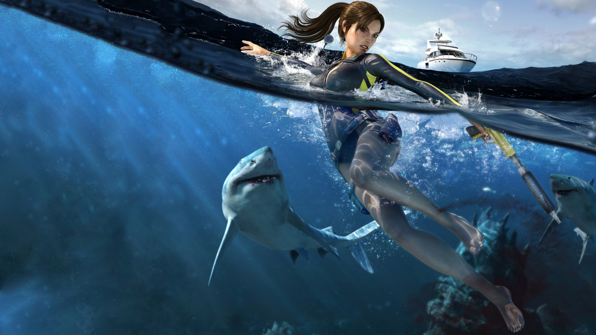 Lara Croft, Tomb Raider, shark, underwater, hunting, action, Illustration, yaht (horizontal)