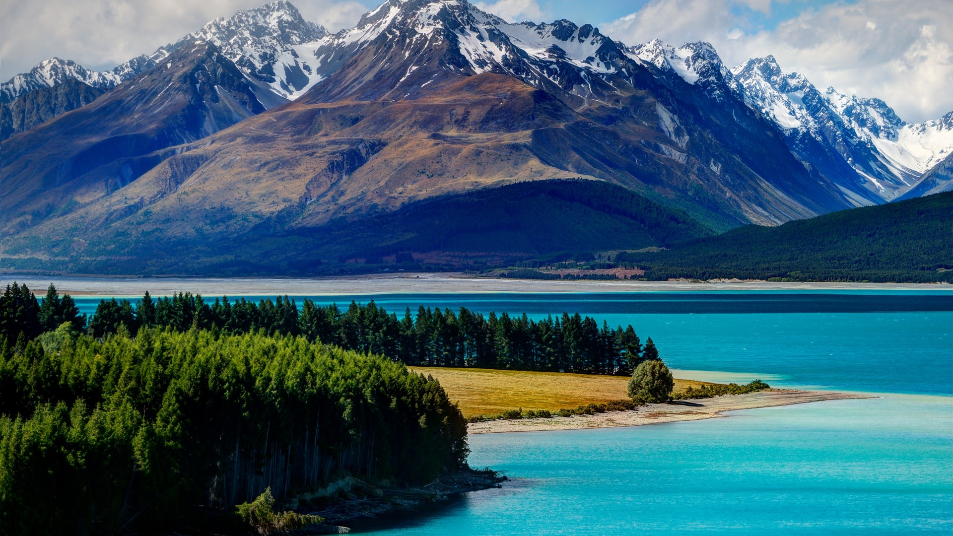 Lake Tekapo, 5k, 4k wallpaper, South Island, New Zealand, booking, rest, travel, mountains, sky, clouds, vacation (horizontal)