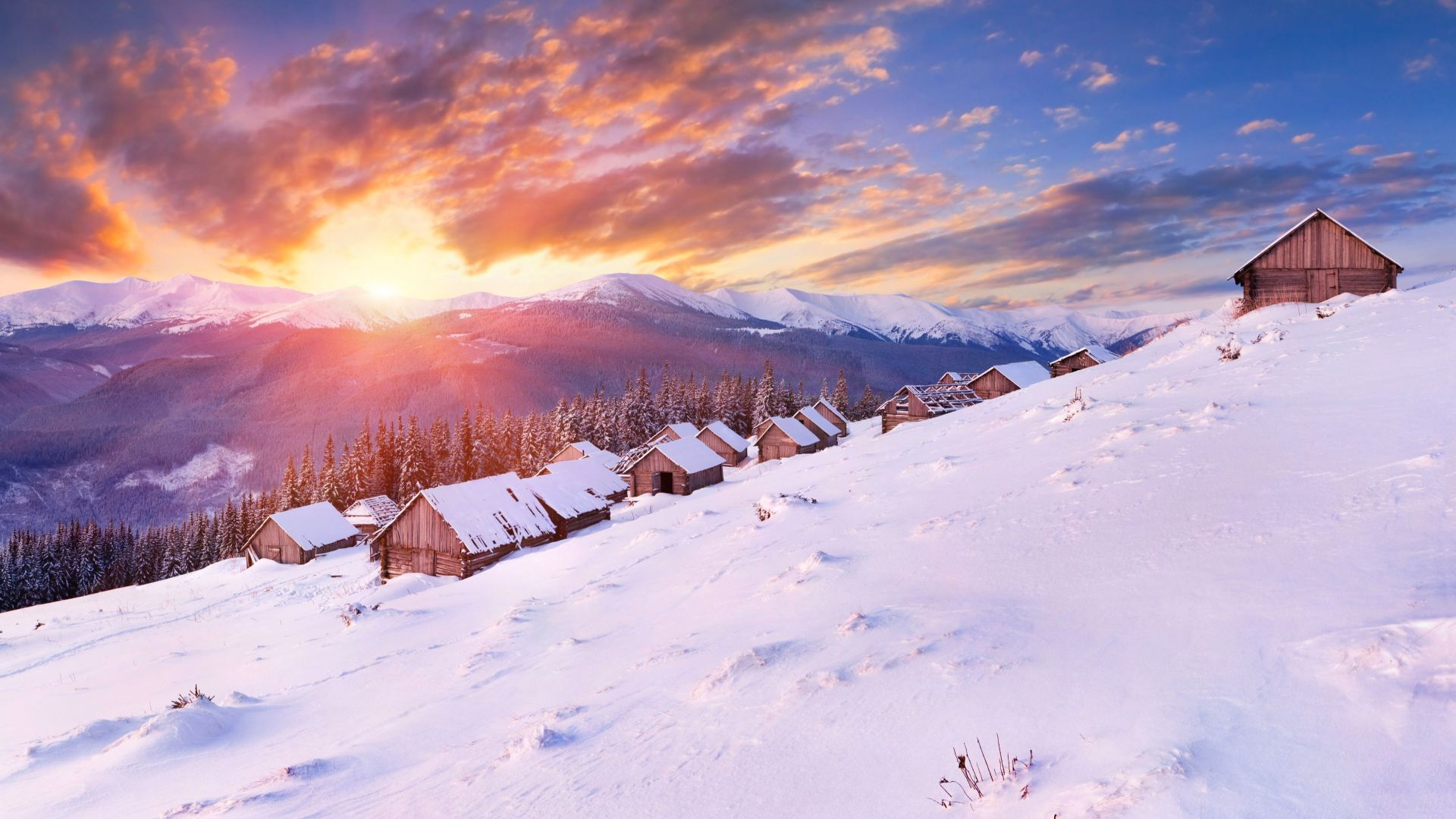 Mountains, 5k, 4k wallpaper, hills, sunset, snow, winter, house (horizontal)