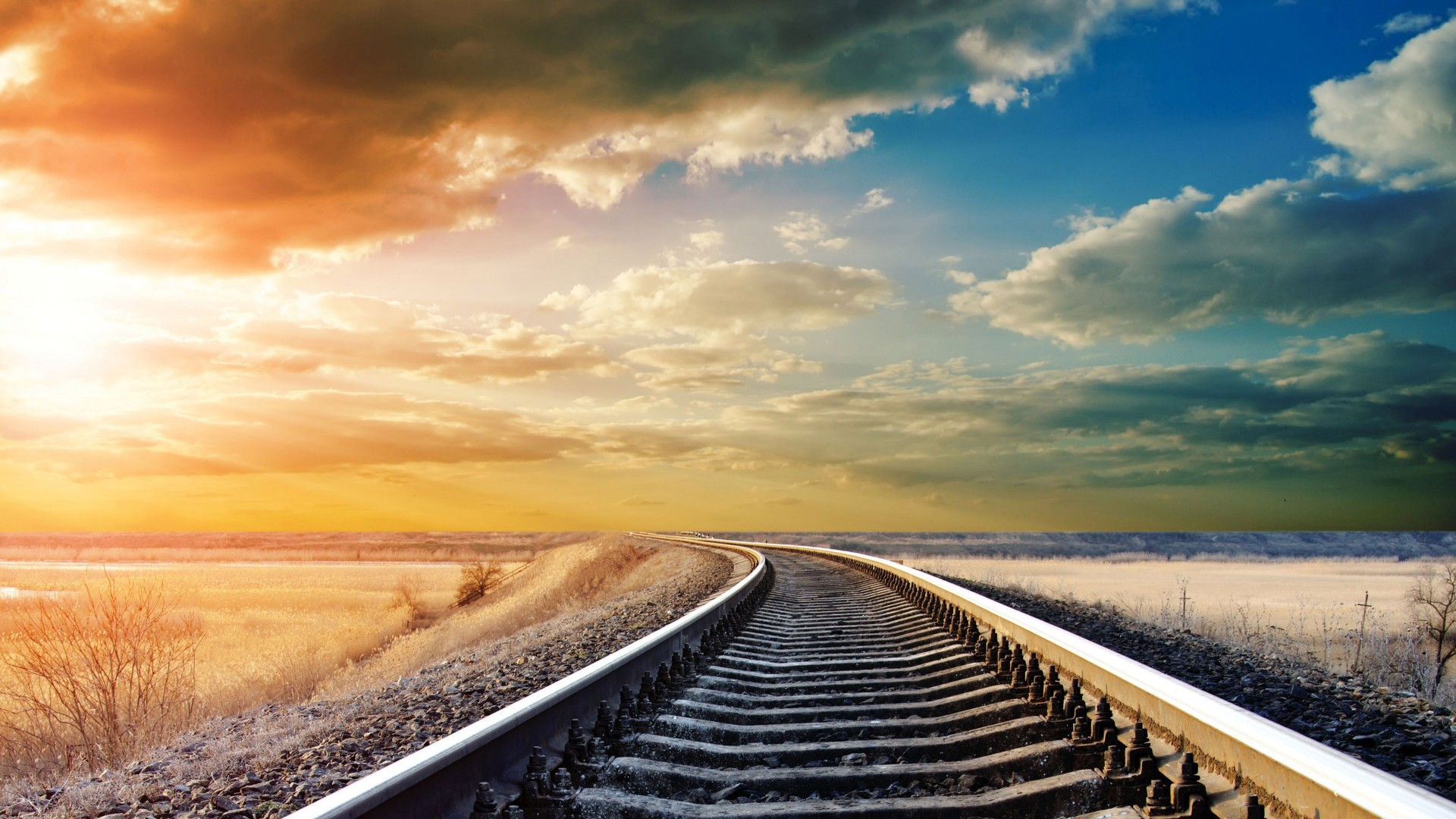 Railway, 4k, HD wallpaper, road, sky, clouds, day, sun, winter, dream,  (horizontal)