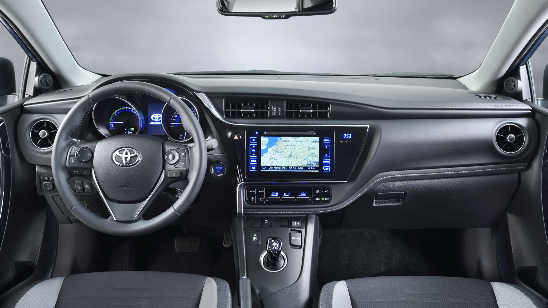 Toyota auris, hatchback, hybrid, blue, interior. (horizontal)