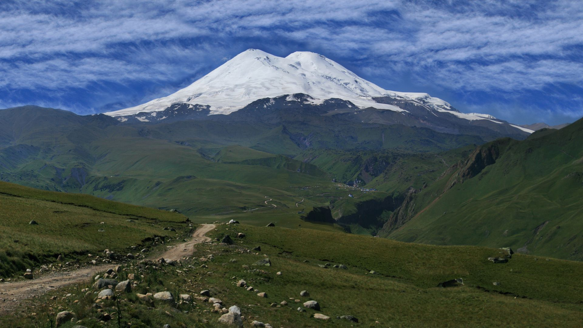 Elbrus, 5k, 4k wallpaper, Caucasus, mountains, volcano, sky, meadows (horizontal)
