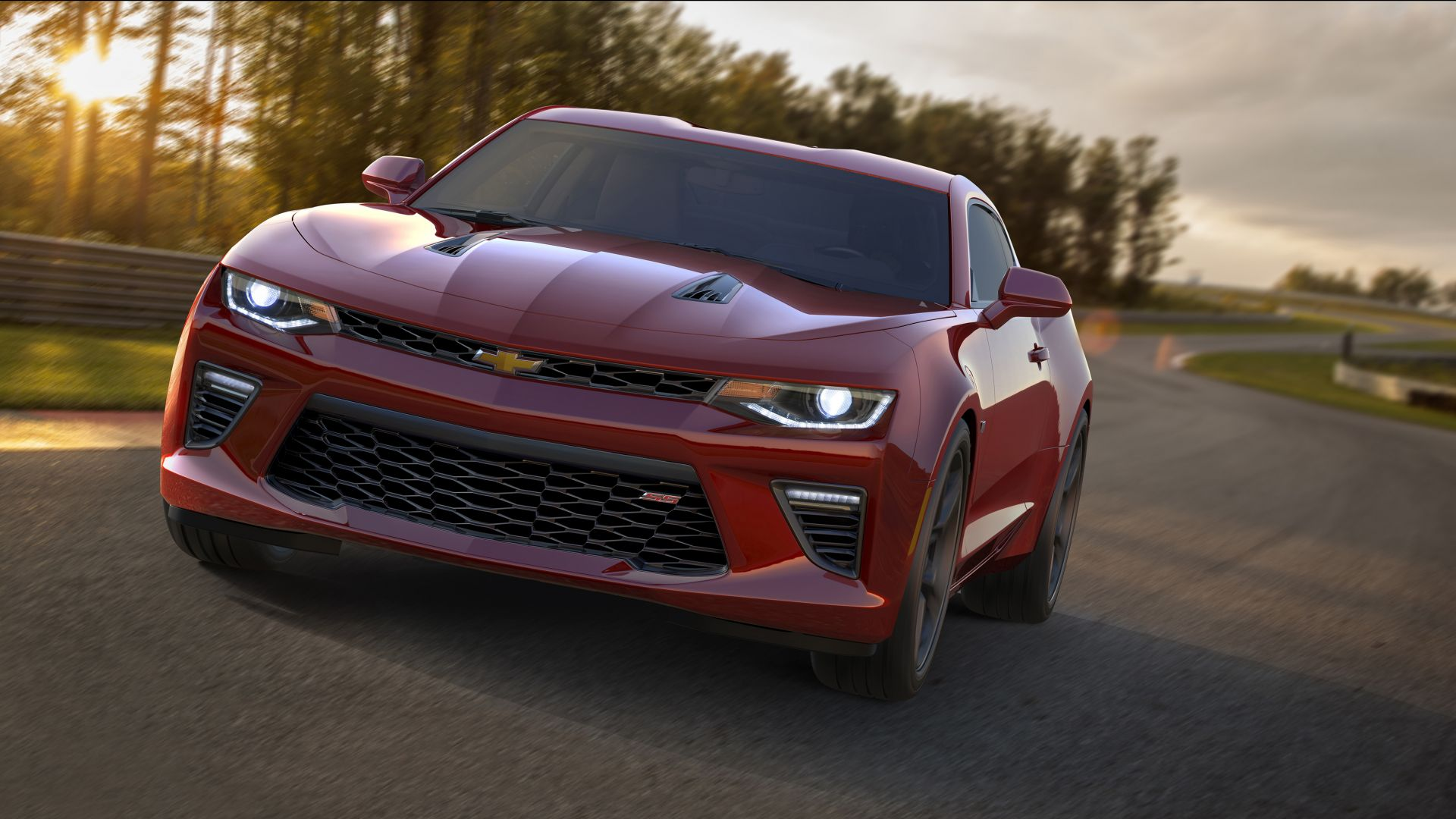 Chevrolet Camaro SS, muscle car, coupe, red (horizontal)