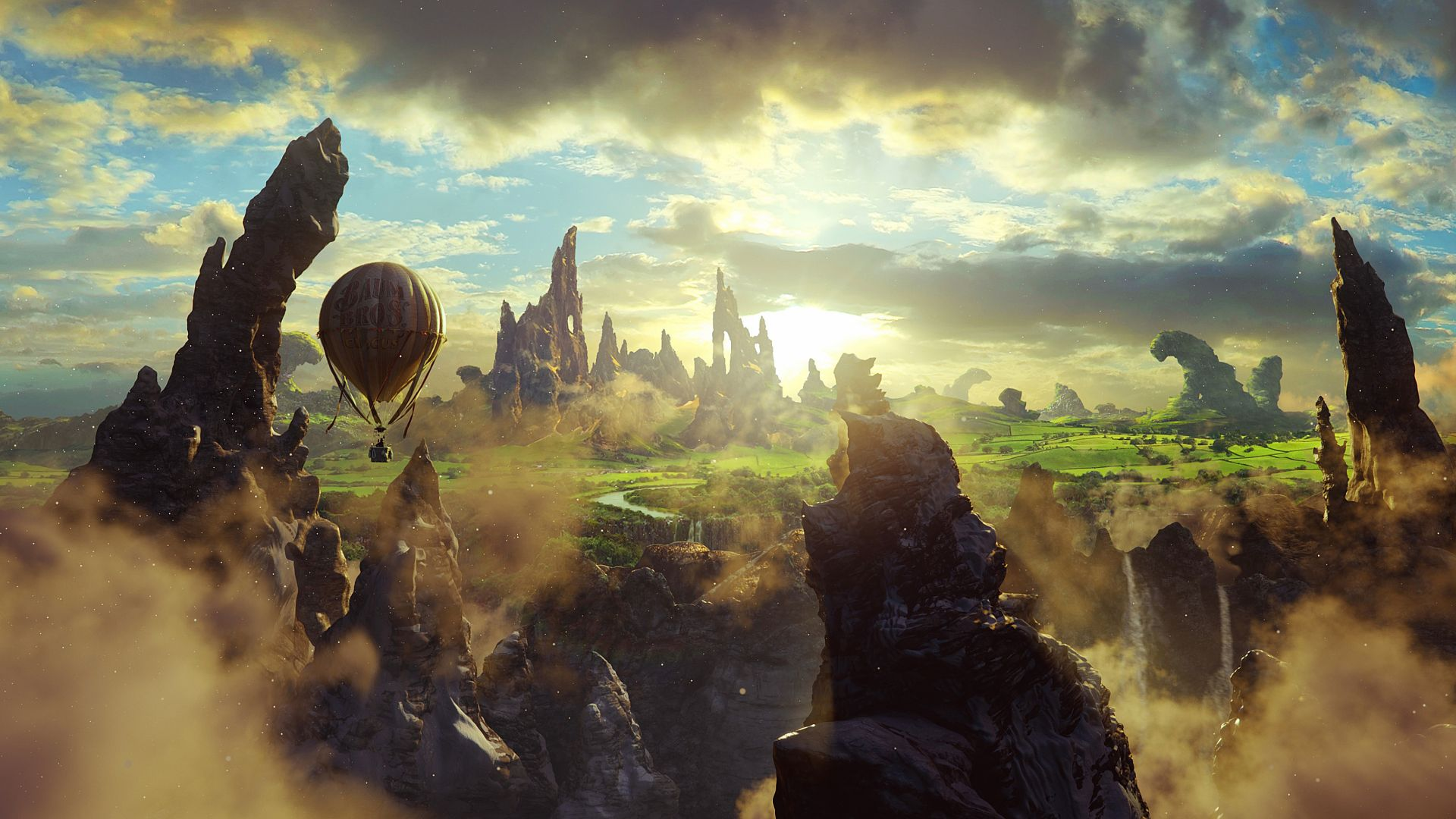 Oz: the Great and Powerful, 4k, 5k wallpaper, fantasy, cliffs, baloon, sky (horizontal)