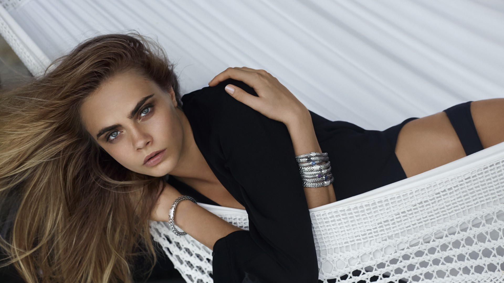 Cara Delevingne, model, black, blouse, hammock (horizontal)