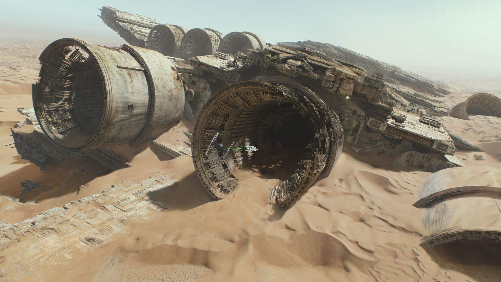 Star Wars: Episode VII - The Force Awakens, spaceship, desert (horizontal)