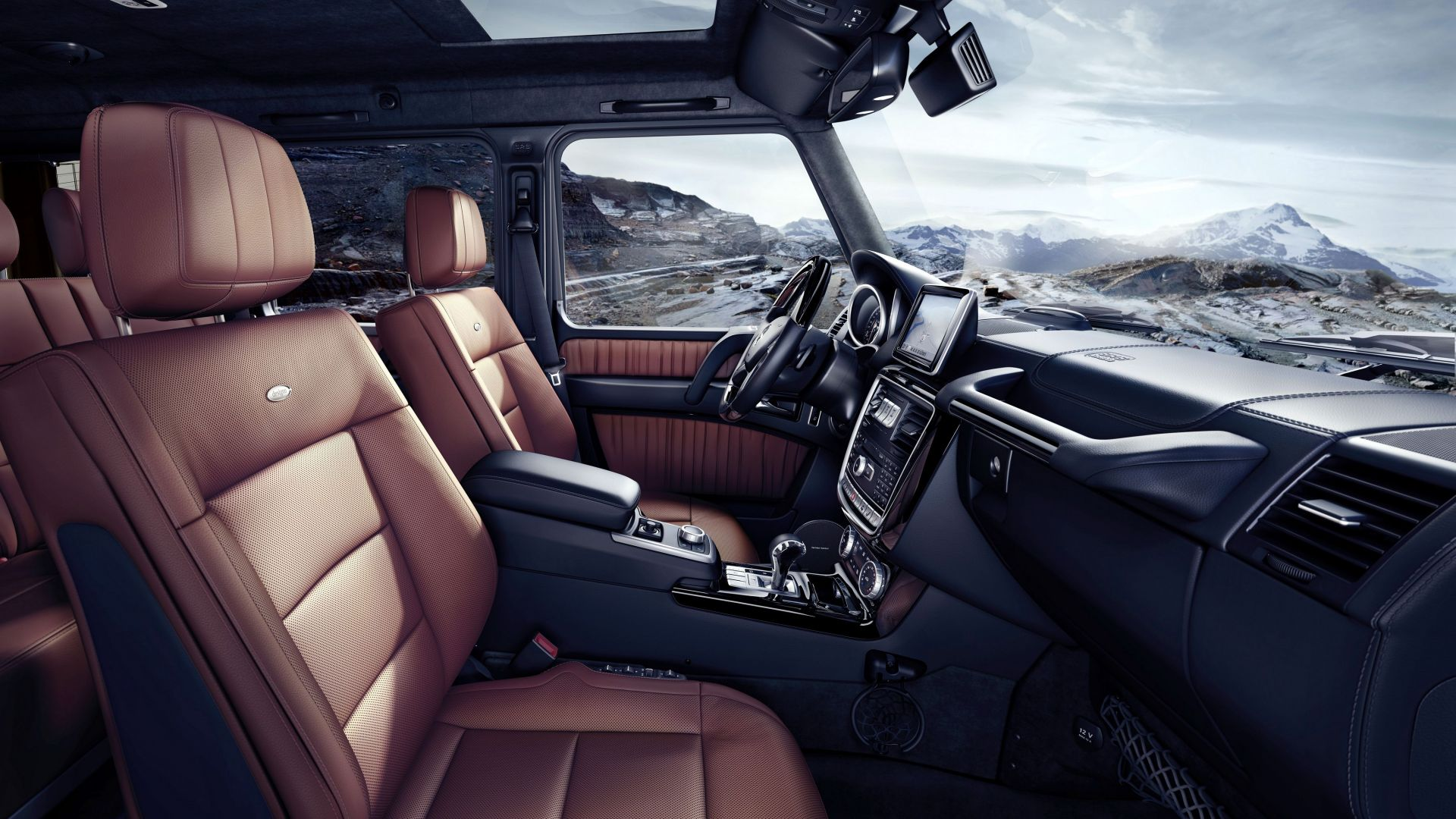 Mercedes-Benz G 500, SUV, Mercedes, G-Class, off-road, interior, luxury cars (horizontal)
