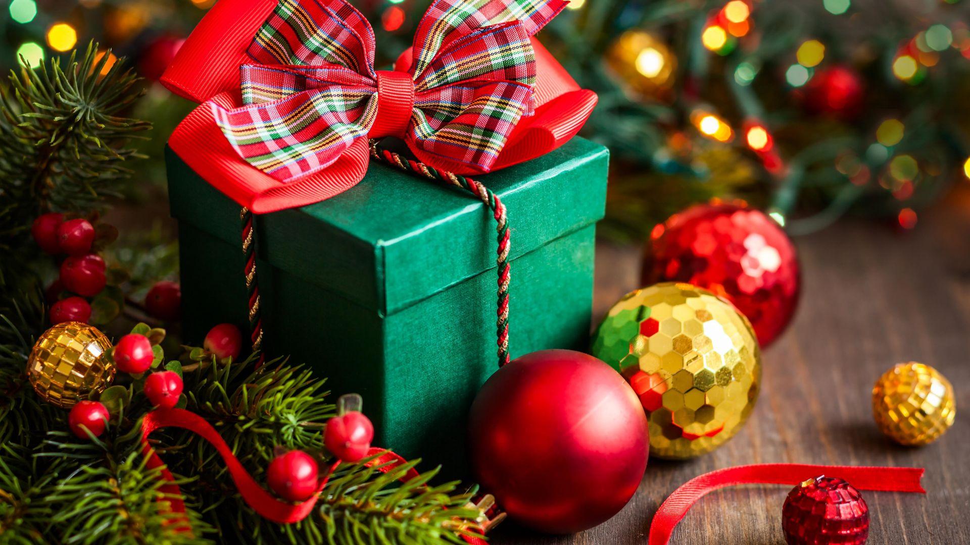 Wallpaper Christmas, New Year, gift, box, balls, fir-tree ...