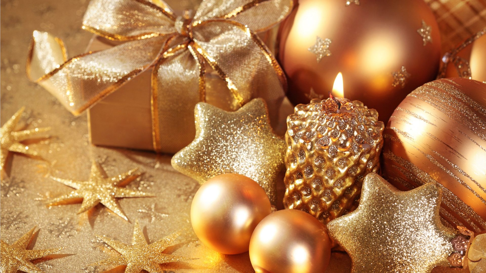 Christmas, New Year, star, candle, gift, balls, gold, decorations (horizontal)