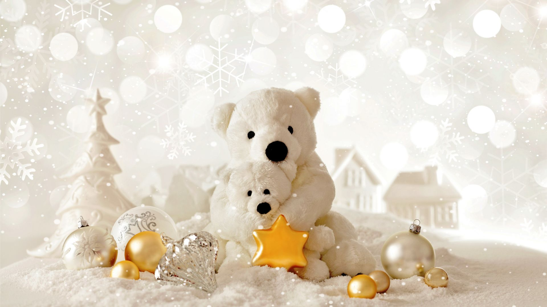 Christmas, New Year, Bear, decorations (horizontal)