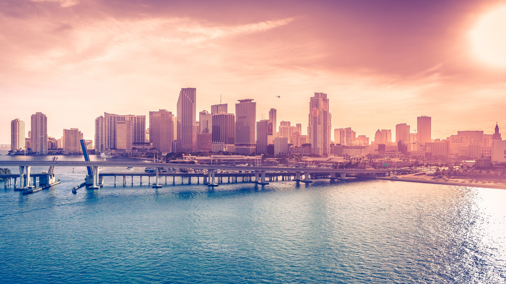 Miami, Florida, USA, Downtown, sea, ocean, water, sky, clouds, bridge, travel, vacation, booking, hotel, beach (horizontal)