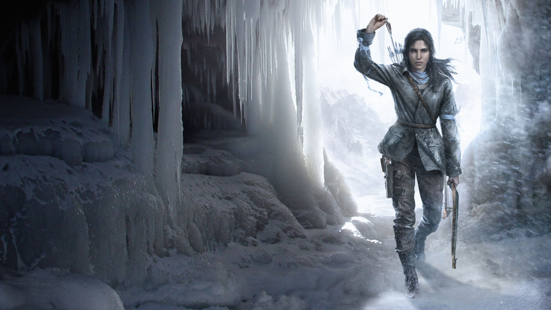 Rise of the Tomb Raider, Lara Croft, game, bow, ice, art, Best Games, sci-fi, PC, PS4, Xbox One (horizontal)