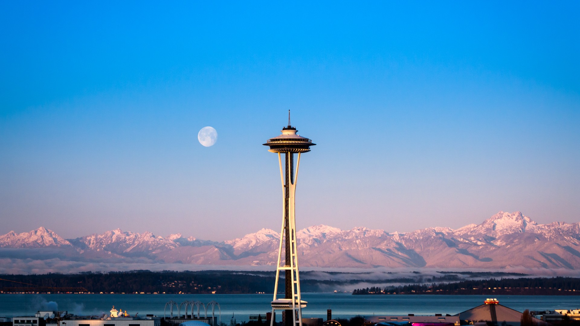 Seattle, tower, sunrise, sea, ocean, water, morning, moon, pink, clear, sky, mountain, travel, vacation (horizontal)