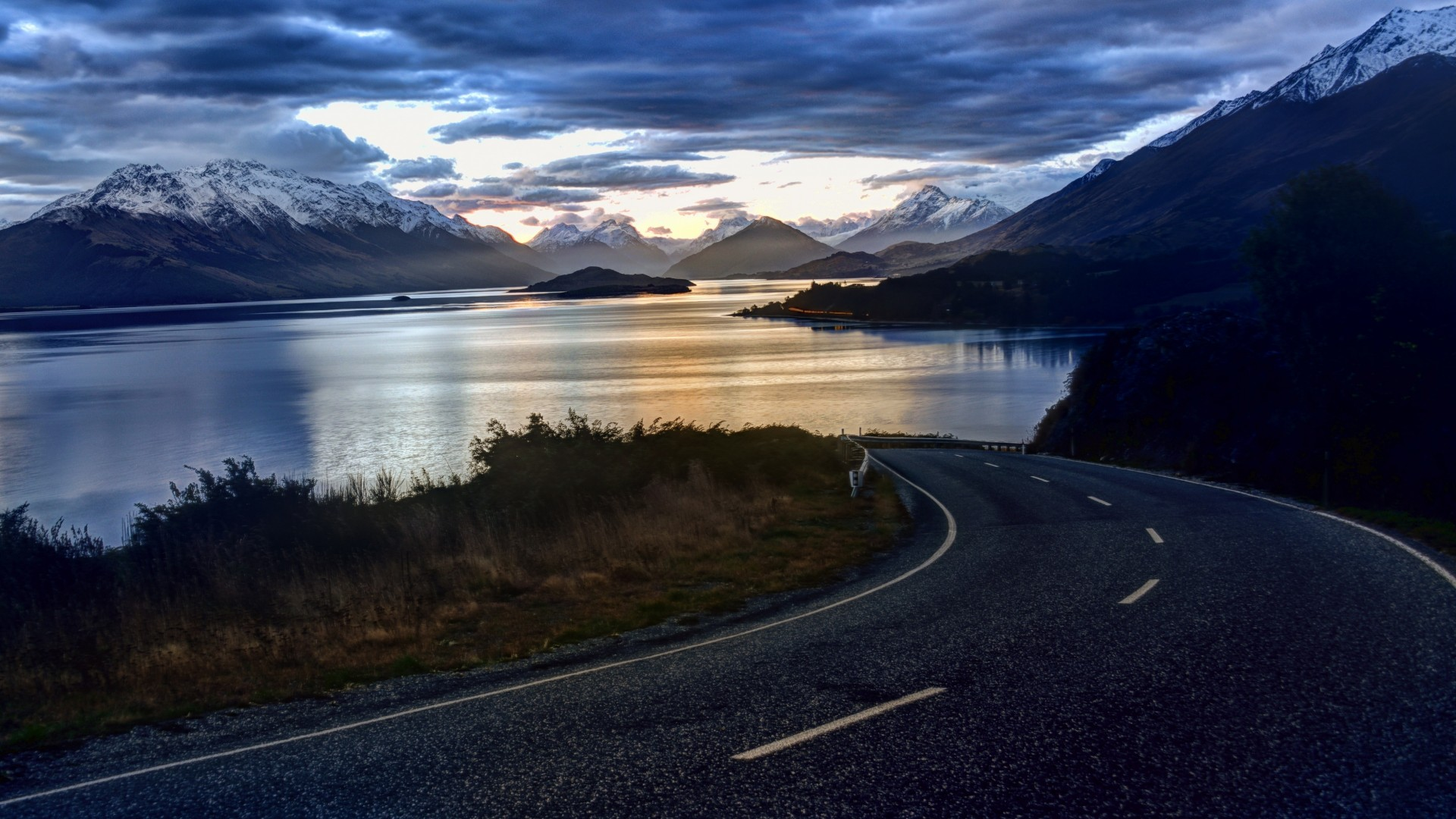 New Zealand, 4k, HD wallpaper, nature, sky, clouds, lake, road, landscape, water, mountain (horizontal)
