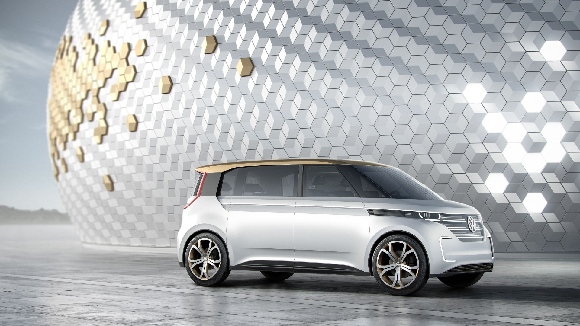 Volkswagen BUDD-e, CES 2016, electric microbus, silver (horizontal)