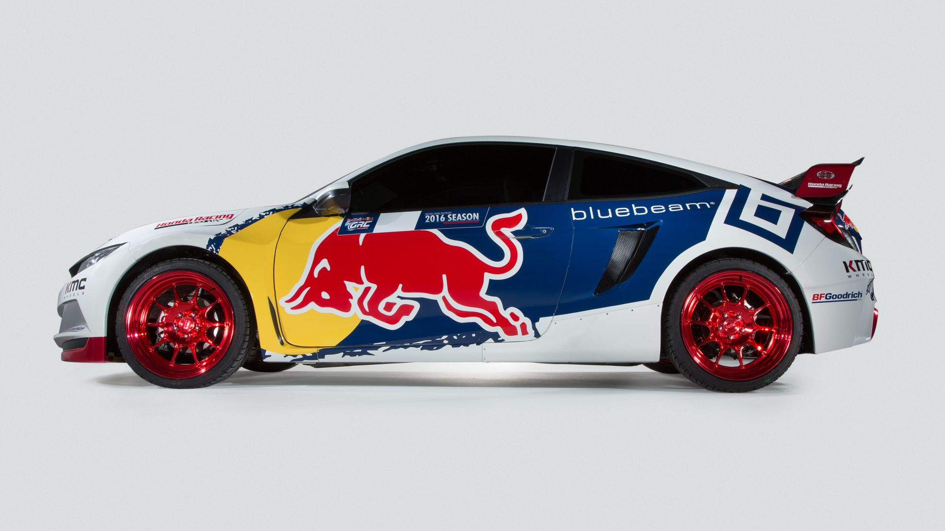 Honda Civic Coupe Rallycross, NYIAS 2016, rally, sport car, red bull (horizontal)
