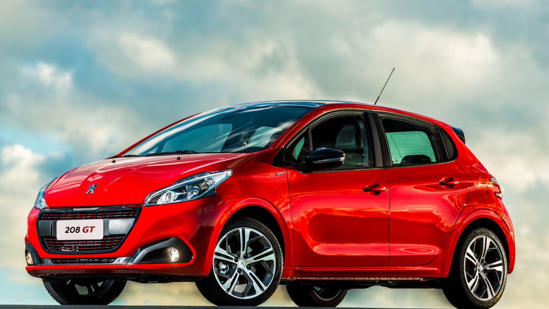wallpaper peugeot 208 gt hatchback red clouds cars. Black Bedroom Furniture Sets. Home Design Ideas