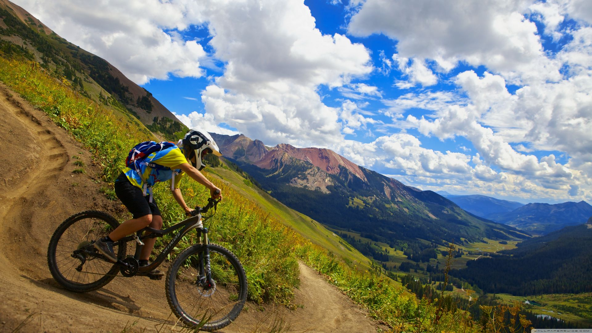 Crested butte biking, cycle racing, mount, sky, clouds (horizontal)
