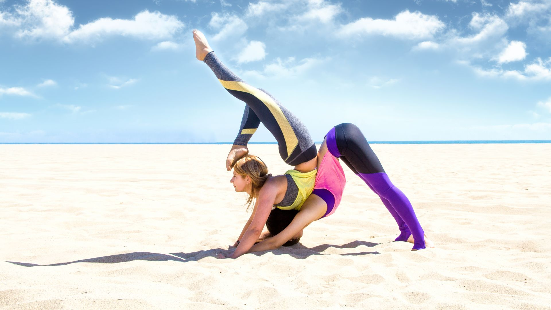 yoga, girl, weight loss, beach, sand, sky, relax, Fitness (horizontal)