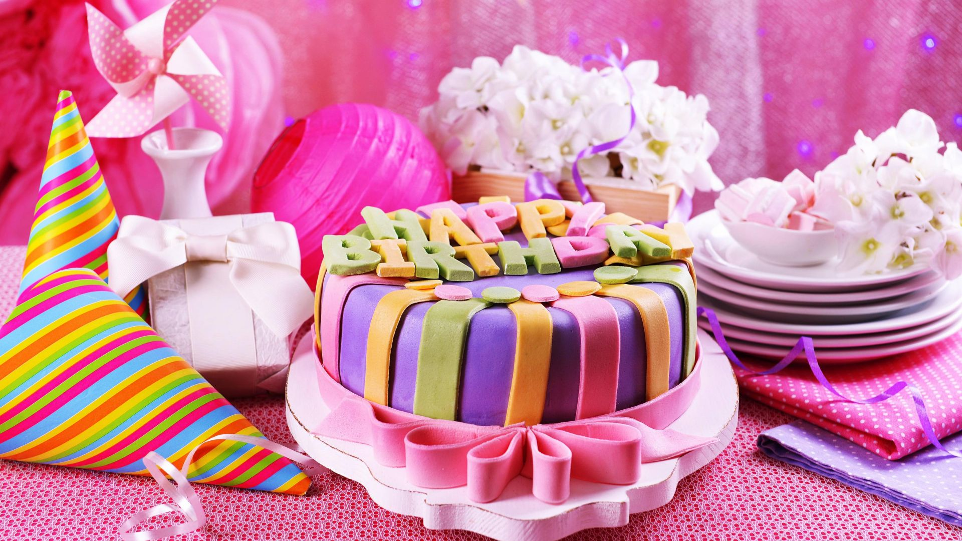 cake, pink, birthday (horizontal)