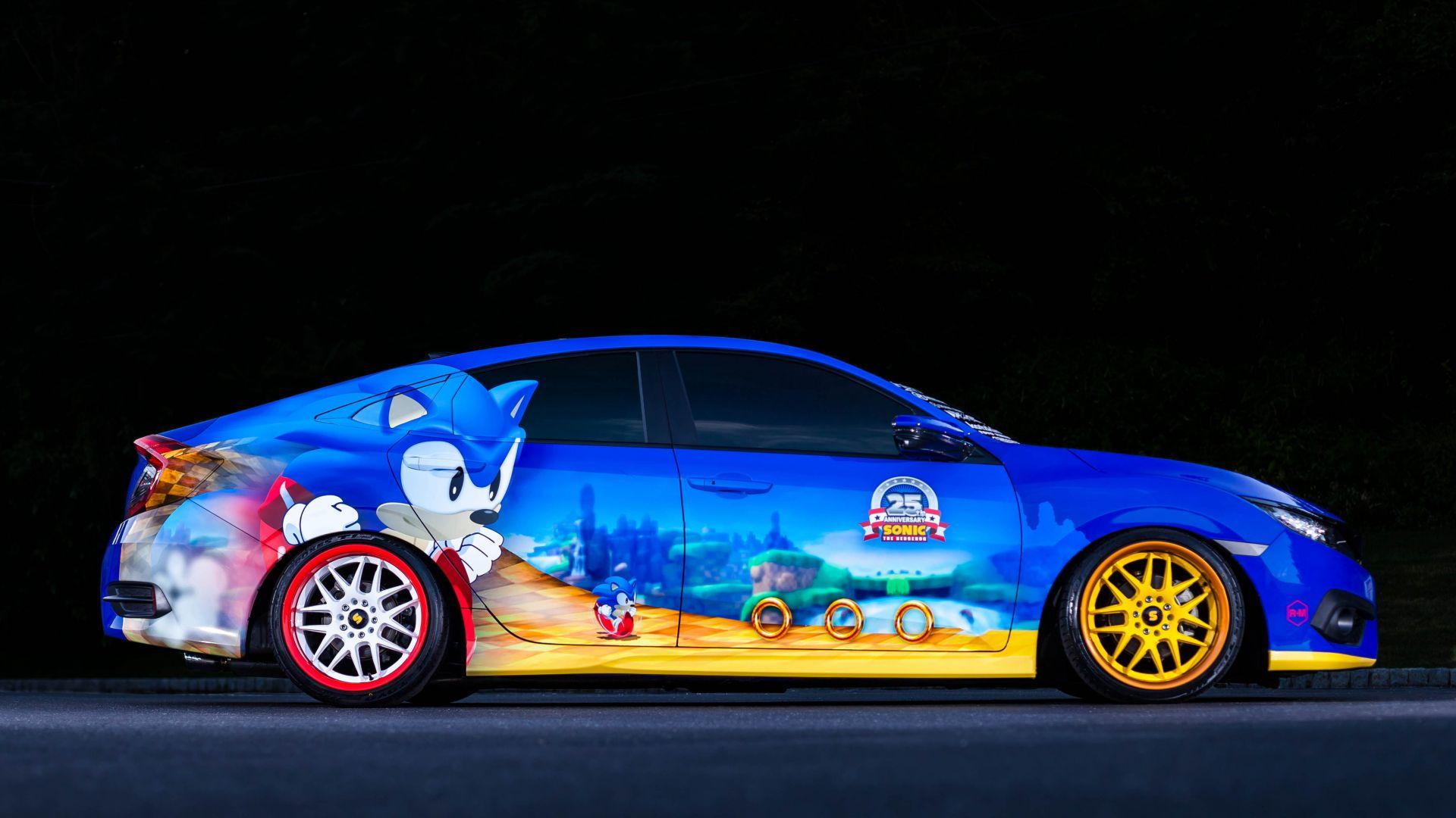 Wallpaper Honda's Sonic Civic, Sedan, Blue, Sonic, Cars