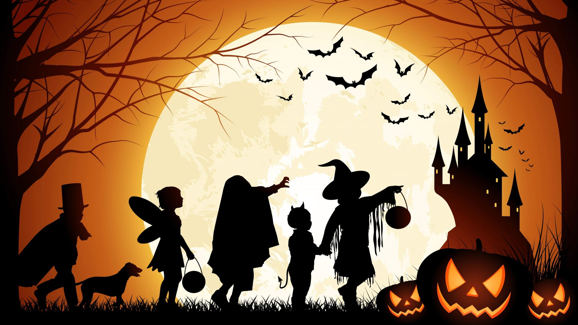 Holiday, Halloween, 31 October, pumpkin host, forest, castle