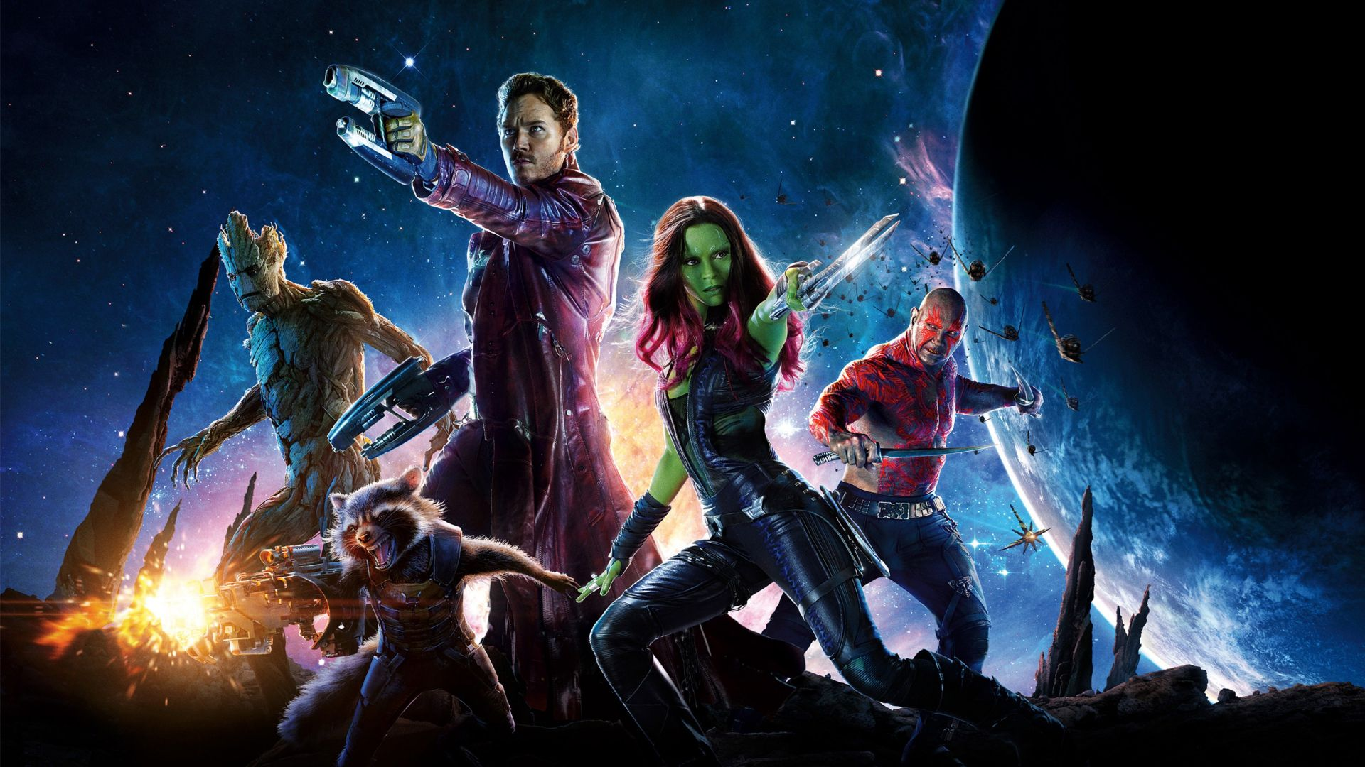 Guardians of the Galaxy Vol 2, Gamora, raccoon, Zoe Saldaña, best movies (horizontal)